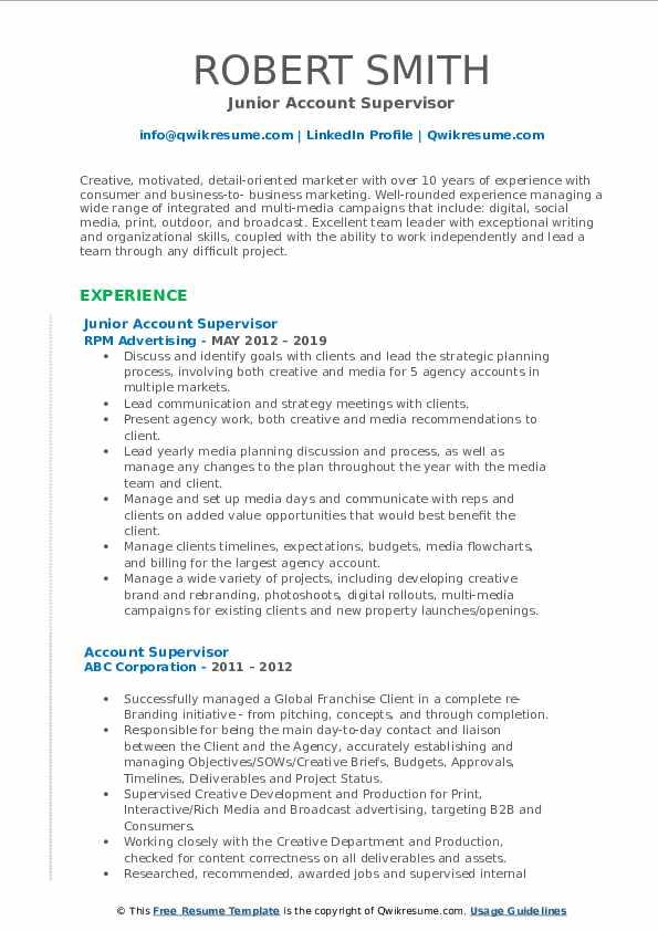 Junior Account Supervisor Resume Format
