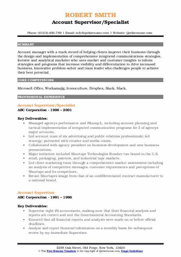 Account Supervisor/Specialist Resume Example