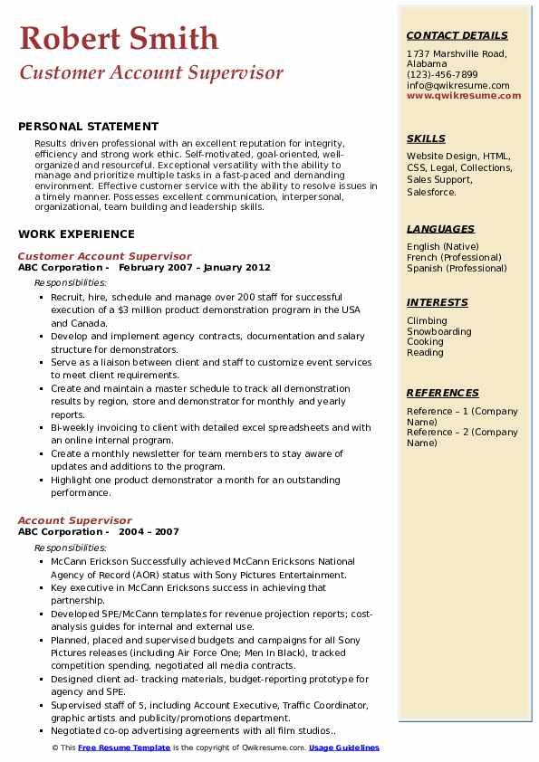 Customer Account Supervisor Resume Example