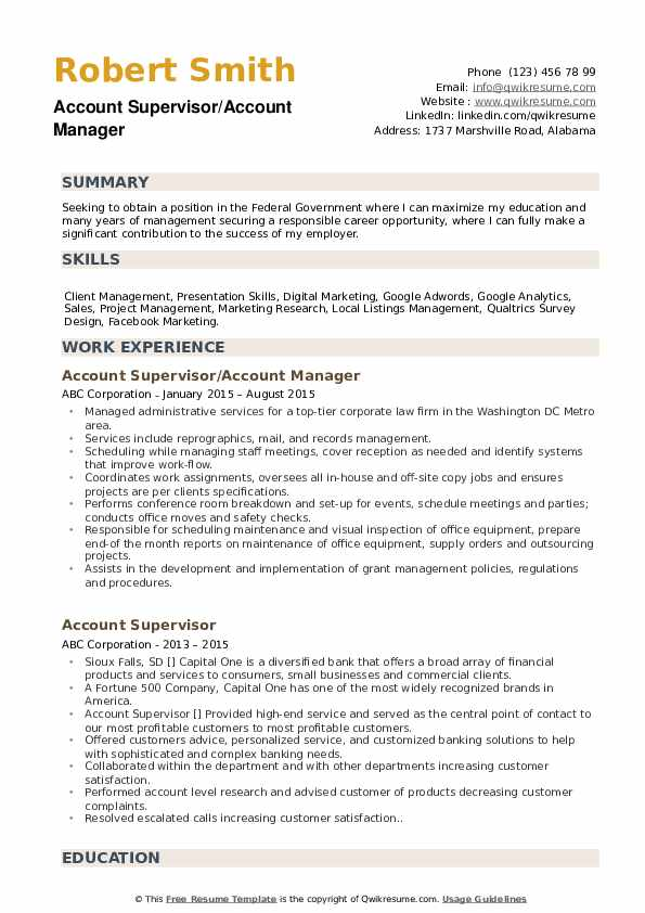 Account Supervisor/Account Manager Resume Example