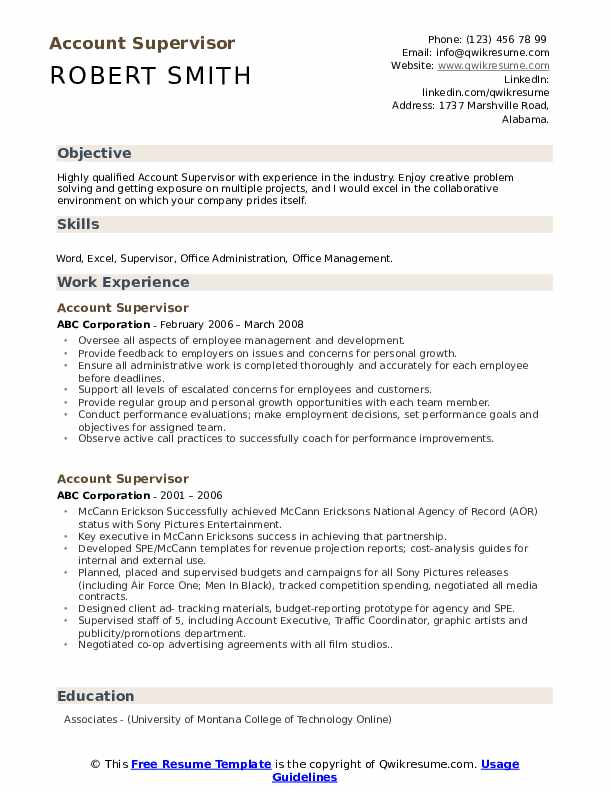 Account Supervisor Resume example