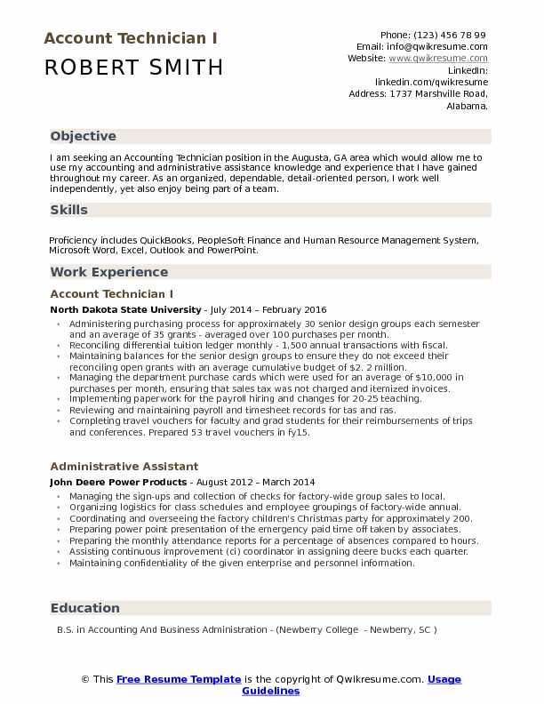 Account Technician I Resume Example