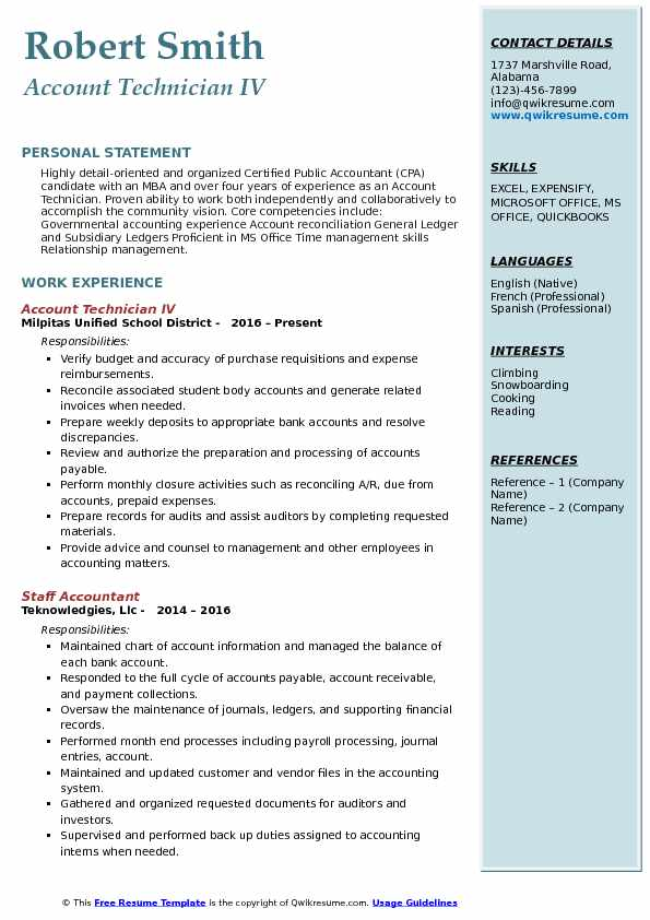 Account Technician IV Resume Model