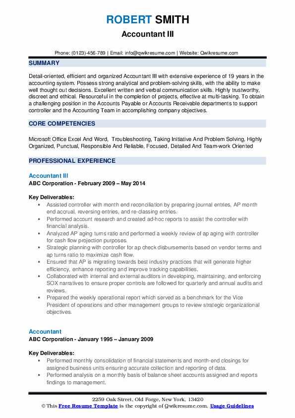 Accountant III Resume Format