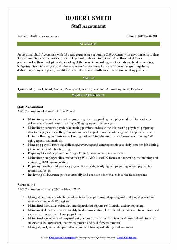 Staff Accountant Resume Model