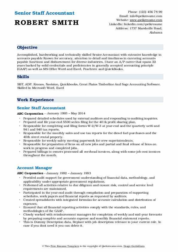 Senior Staff Accountant Resume Format