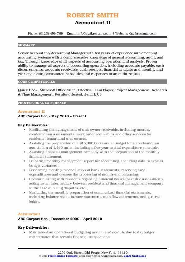 Accountant II Resume Sample