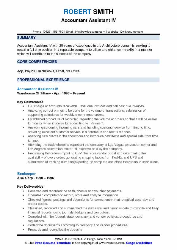 Accountant Assistant IV Resume Example