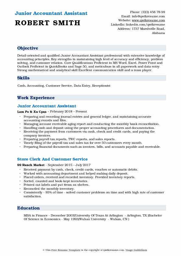 Junior Accountant Assistant Resume Template