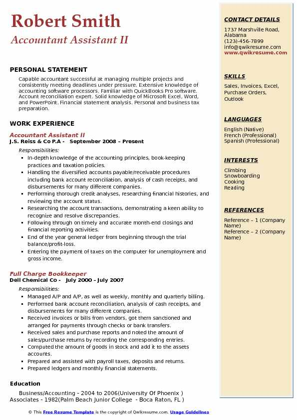 Accountant Assistant II Resume Template