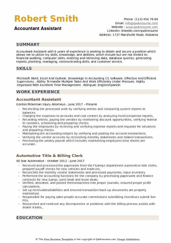 accountant assistant resume samples