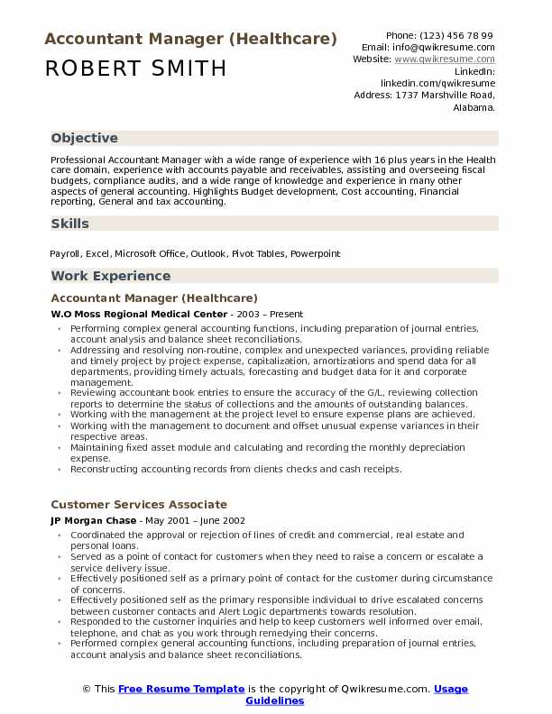 Accountant Manager (Healthcare) Resume Template