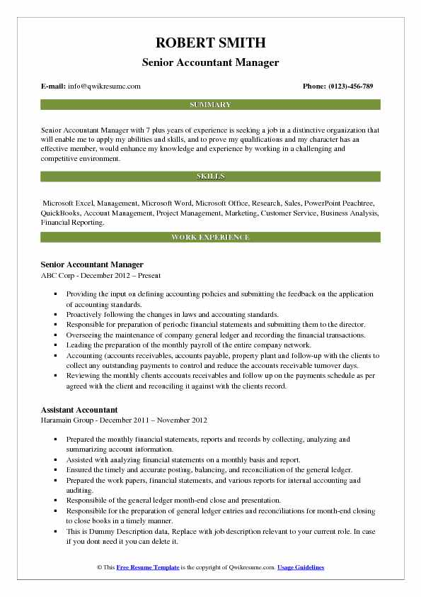 Senior Accountant Manager Resume Sample
