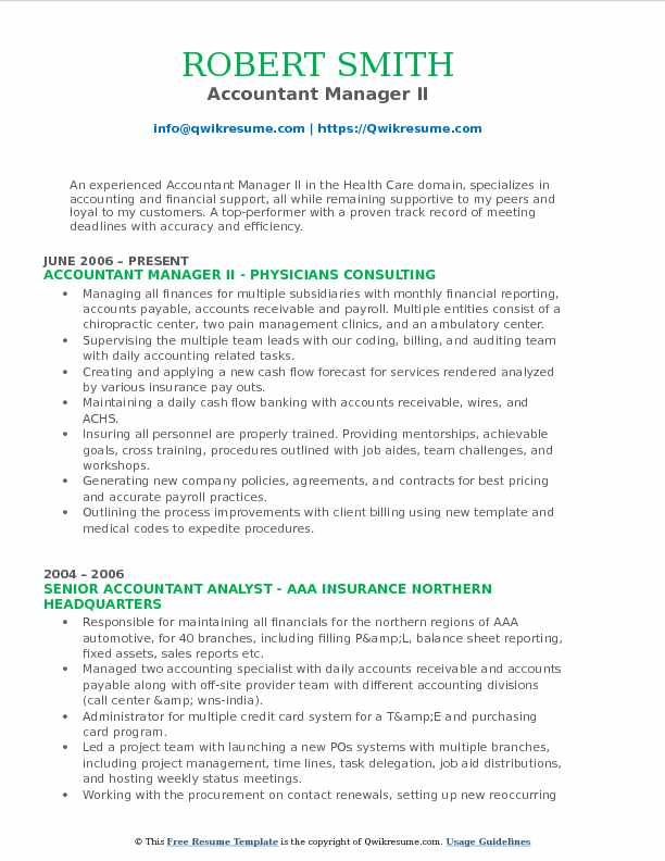Accountant Manager II Resume Template