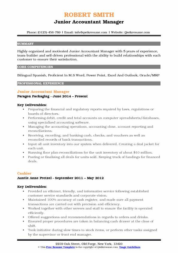 Junior Accountant Manager Resume Format