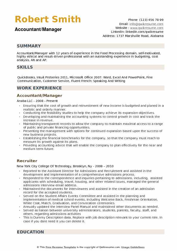 Accountant Manager Resume example