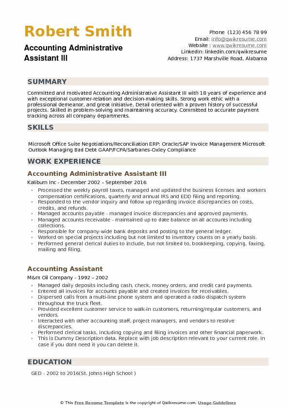accounting administrative assistant resume samples