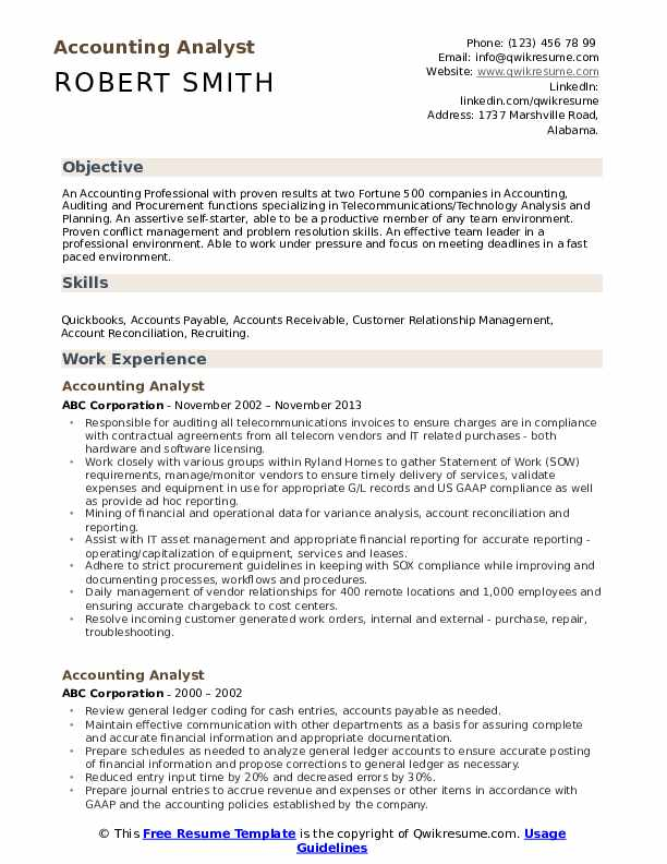 Accounting Analyst Resume Template