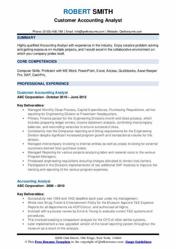 Customer Accounting Analyst Resume Sample