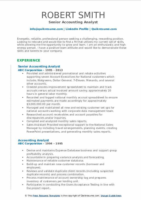 Senior Accounting Analyst Resume Model