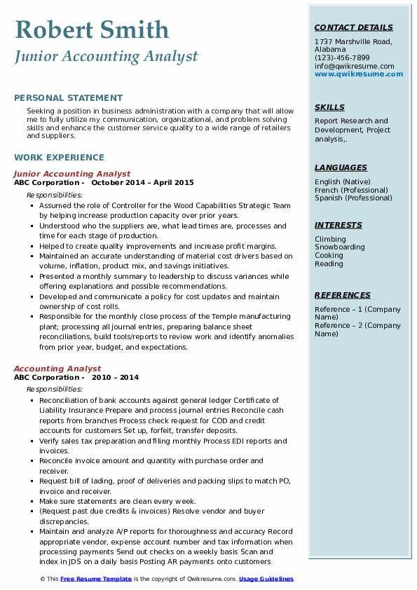Junior Accounting Analyst Resume Format
