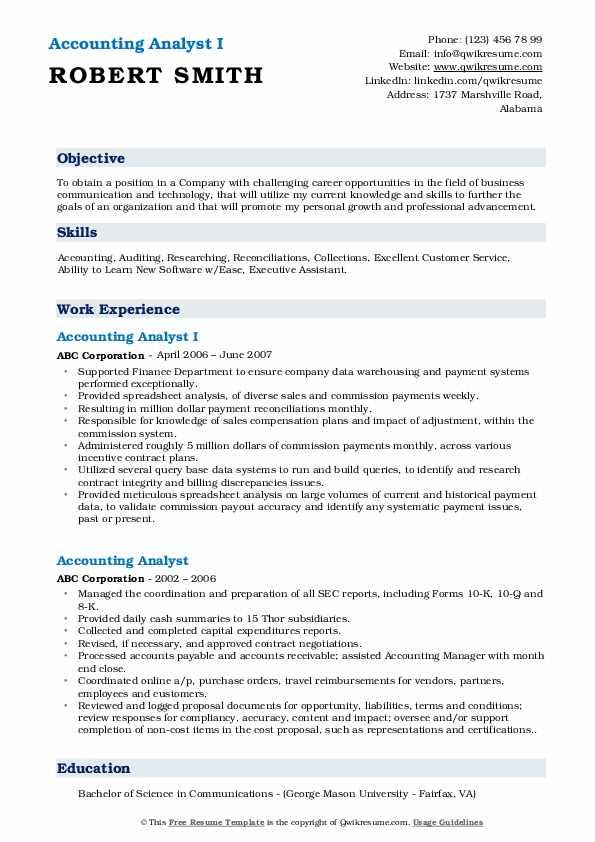 Accounting Analyst I Resume Model
