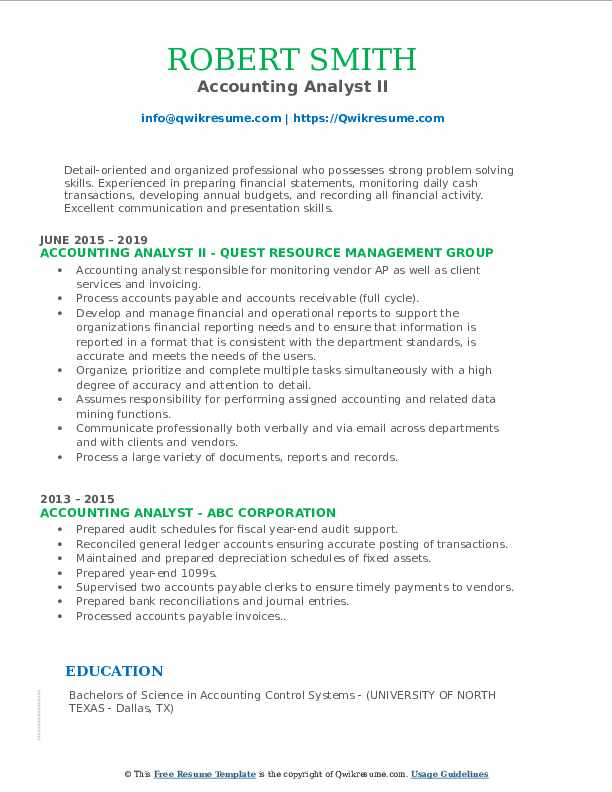 Accounting Analyst II Resume Format