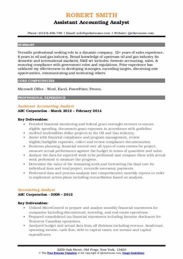 Assistant Accounting Analyst Resume Template