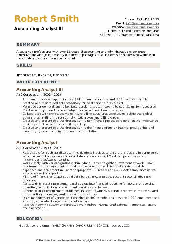 Accounting Analyst III Resume Model