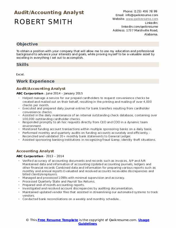 Audit/Accounting Analyst Resume Model