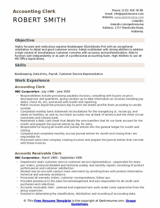 Accounting Clerk Resume Sample
