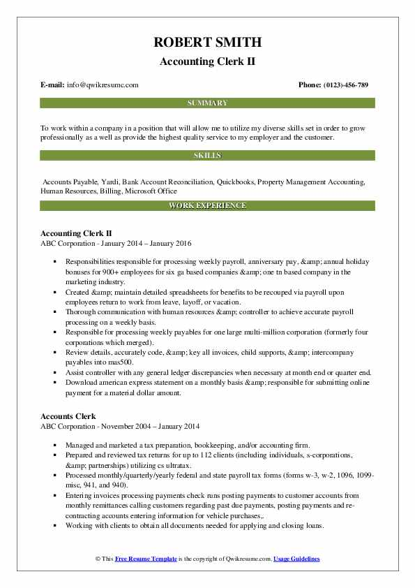 Accounting Clerk II Resume Sample