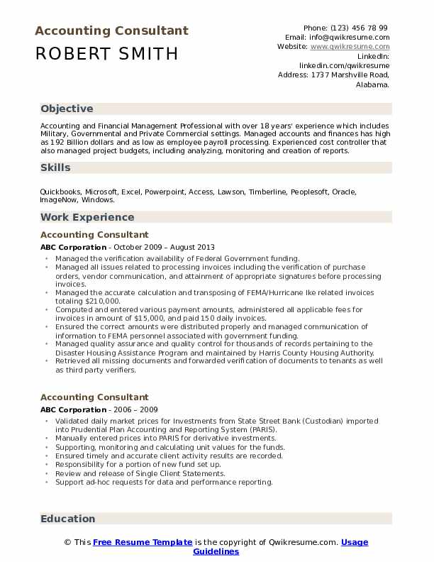 Accounting Consultant Resume Format