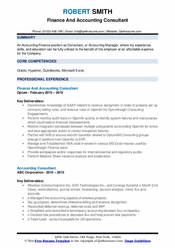 Finance And Accounting Consultant Resume Format
