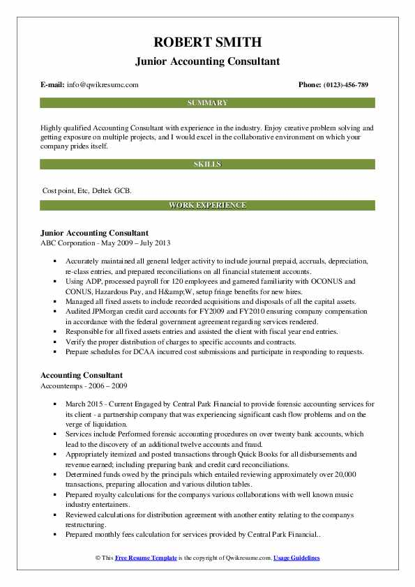 accounting consultant resume samples