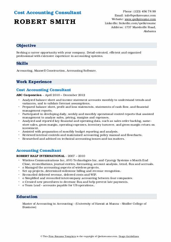 Cost Accounting Consultant Resume Format