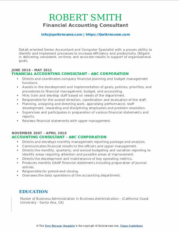 Financial Accounting Consultant Resume Sample