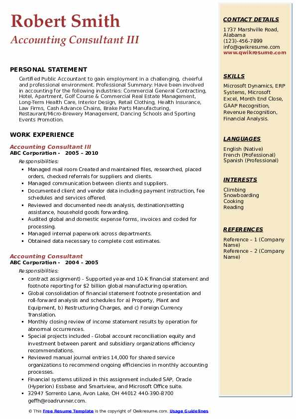 Accounting Consultant III Resume Format