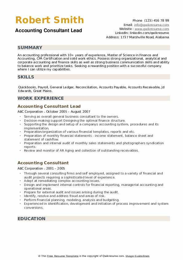 Accounting Consultant Lead Resume Format