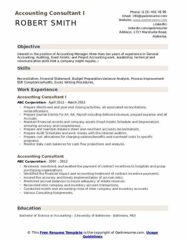 Accounting Consultant I Resume Format