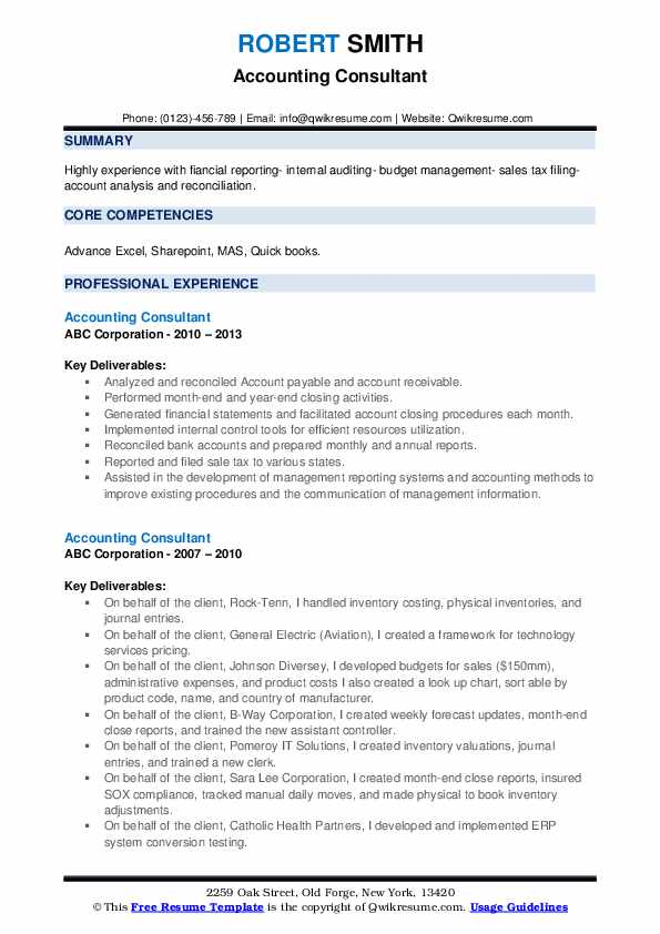 Accounting Consultant Resume example