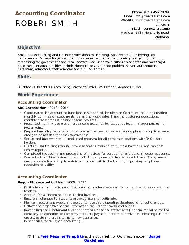 Accounting Coordinator Resume Sample