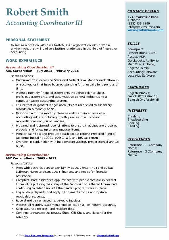 Accounting Coordinator Resume Samples   QwikResume