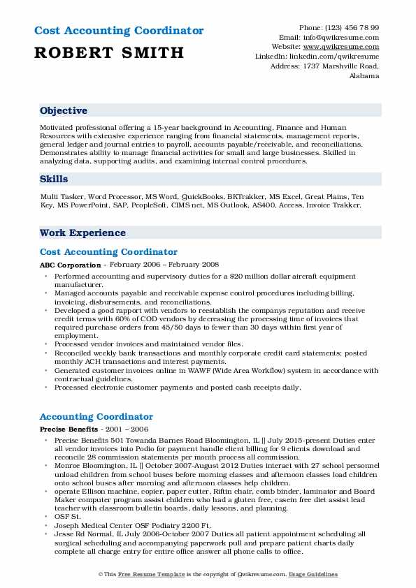 Cost Accounting Coordinator Resume Example