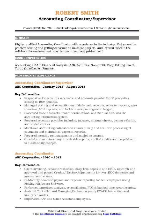 Accounting Coordinator/Supervisor Resume Template