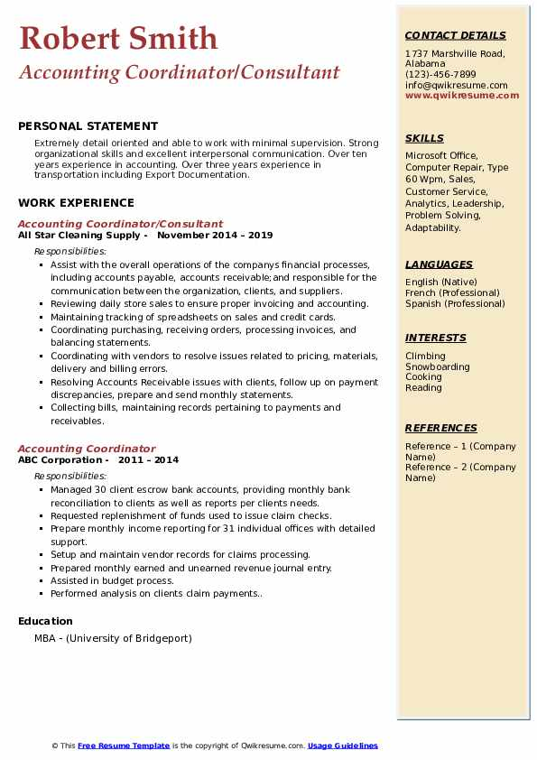 Accounting Coordinator/Consultant Resume Example