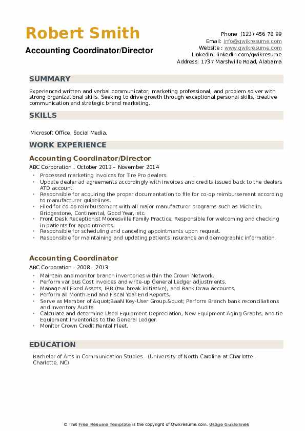 Accounting Coordinator/Director Resume Sample