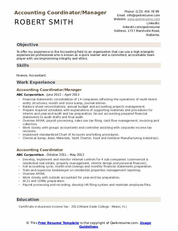 Accounting Coordinator/Manager Resume Example