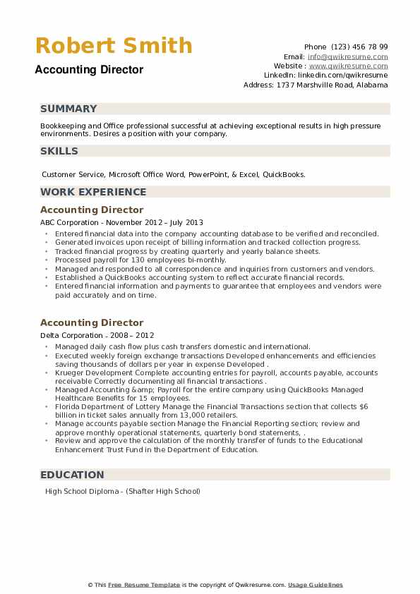 Accounting Director Resume example