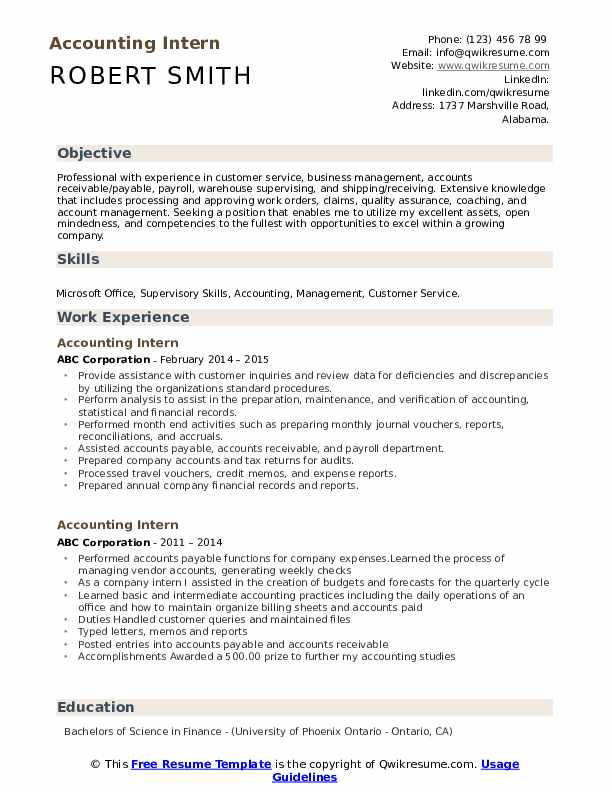 Accounting Intern Resume Model